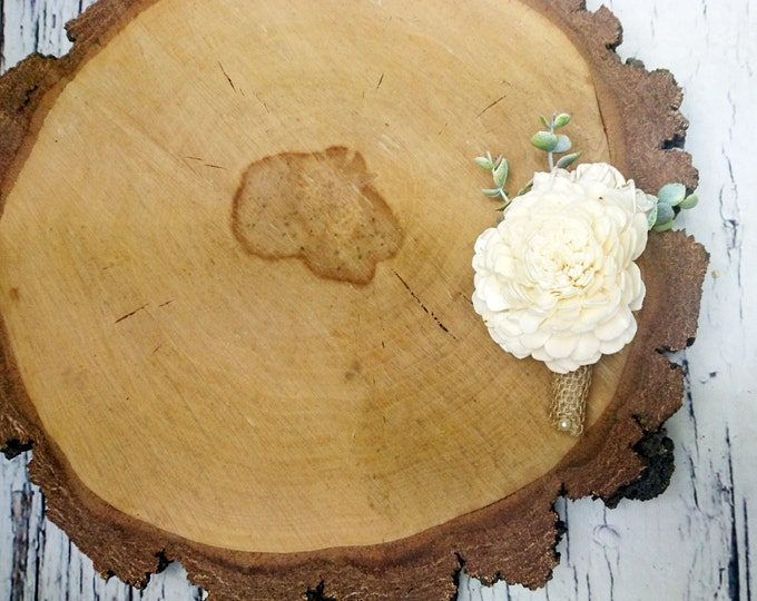 Ivory sola flower rustic wedding Rustic wedding BOUTONNIERE eucalyptus groom groomsman burlap greenery woodland