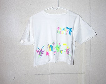 90's OCEAN PACIFIC neon floral crop top white t-shirt