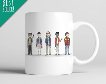 Squad Goals; 11 oz. Premium Mug, Stranger Things, Netflix, Pop Culture, Coffee, Tea, Beverage, Funny, Cute, Drink, Kitchen, Home Decor