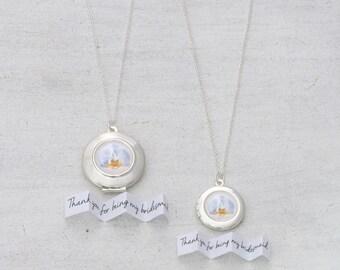 Orchids Locket Necklace - Orchids Necklace - Bridesmaid Locket - Bridal Locket - Wedding Jewelry - Silver Locket - Personalized Locket