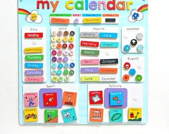 Childrens Calendar Activity Planner - Reward Chart - Kids Behaviour Chart - Chore Chart - Kids Calendar - Personalised Calendar - Autism