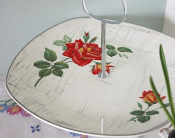 Vintage 50's Staffordshire Midwinter Stylecraft 'Rose Maria'  floral cake stand