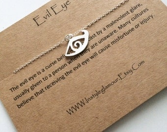 Evil Eye Necklace, Lucky Charm Necklace, All Seeing Eye Necklace, Silver Charm Necklace