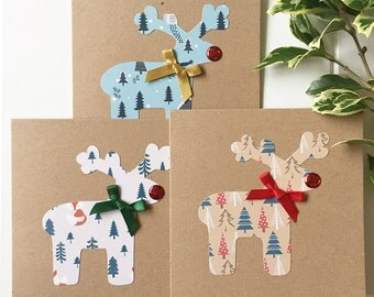 Set of 3 Christmas Cards Handmade - Rudloph with Glittery Red Nose - Christmas Card Pack - Seasonal Holiday Cards - Xmas Cards Handmade