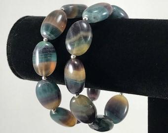 Rainbow Fluorite gemstone bracelet/ natural/ Rainbow Fluorite/ green/ yellow/ purple/genstone/ bracelet/ Nature Art/ jewelry