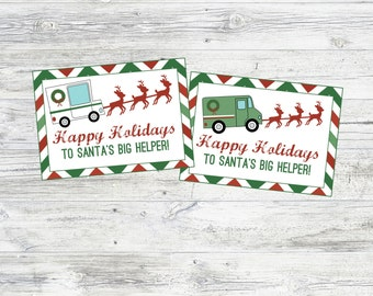 Christmas Mailman and Deliveryman Tags & Signs. Happy Holidays to Santa's Big Helper. Instant Digital Download. Mailman or deliveryman gifts