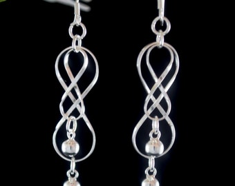 Sterling Silver Dangle Earrings, Long Drop earrings, Long Silver Earrings, 925 Silver Earrings
