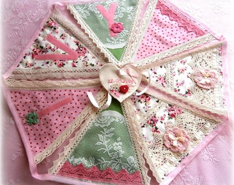 A Deluxe Personalized Bunting in Sage green/pink /Girls bunting/Baby girl/Baby Shower/Nursery Decoration/Christening/Naming ceremony Gift