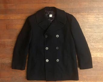Vintage Mens 1980s USN Navy Black Wool PEACOAT Size Large 44 EUC Long Military Army