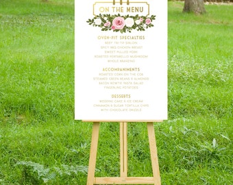 The FRANKIE. Menu Large Printed Sign or PDF . White & Gold Blush Pink White Rose Green Garland . Family Style Buffet Menu Fork Knife Spoon