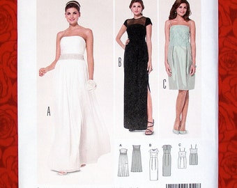Burda Sewing Pattern 6940 Bridal Gown, Formal Evening Dress, Long Short Fitted Bodice Style, Sizes 8 10 12 14 16 18 20, Wedding Party, UNCUT