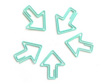 Set of 5 arrow paperclips, mint, arrows paper clips