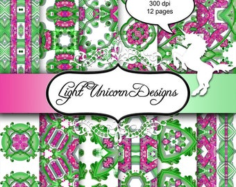 Pink and Green Quilling Digital Scrapbook Printable Paper