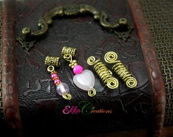 Rose quartz dread beads/5 mm hole dread bead set/sisterloc beads/sisterlock jewelry/pink and gold loc beads/Braids Jewelry/charm dread beads