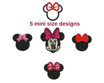 5 designs: Small 1 inch Minnie Mouse mini ears face filled embroidery patterns Machine embroidery design Digital  Download