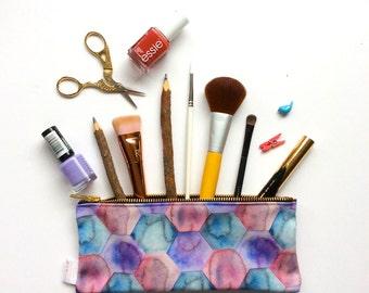 Pencil Case, Hexagons, Pencil Pouch, Make Up Bag, Modern, Romantic, Pouch, Cosmetic Bag, Zipper Pouch, Bag, pencil bag, organiser, small bag