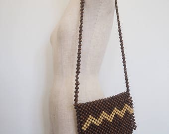 70s wood beaded bag
