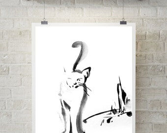 Modern cat print, Art Print of Cat, minimalist painting print, black and white, wall art, Cat Painting