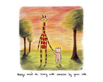 Motivating Giraffe - By Your Side 8x11 A4 Print