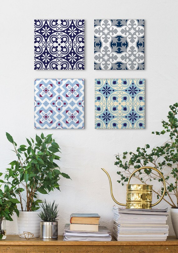Tile Art Canvas Set, Set Of 4 Prints, Canvas Prints, Blue Canvas Art, Canvas Panels, Wall Art Vintage, Barcelona Tiles, Ceramic Tile Art