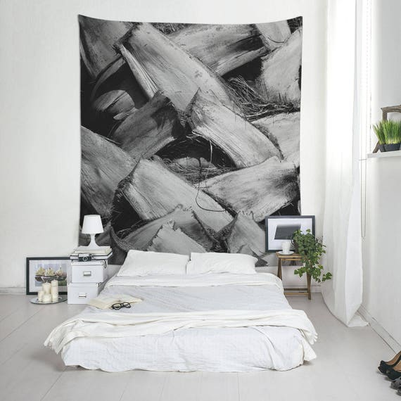 Palm Tree Trunk, Black And White Wall Tapestry, Palm Tapestry, Macro Photography, Wall Hangings