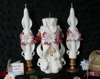 Country Daisy Unity Candle Set - (3) Pc. Rustic Carved Candles - White Wedding Candles - Refillable Tea Light, LED Glow Inset, Ready To Ship