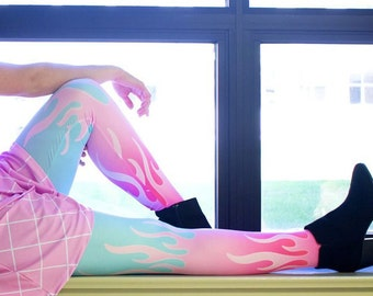 neon flame tights XS - 3XL | 90s retro punk goth hot rod flames grunge harajuku hot pink teal fire plus size stockings