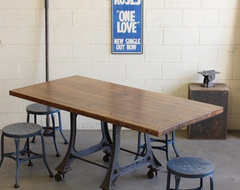 vintage industrial antique 6u0027 dining table desk w cast iron legs 1920s