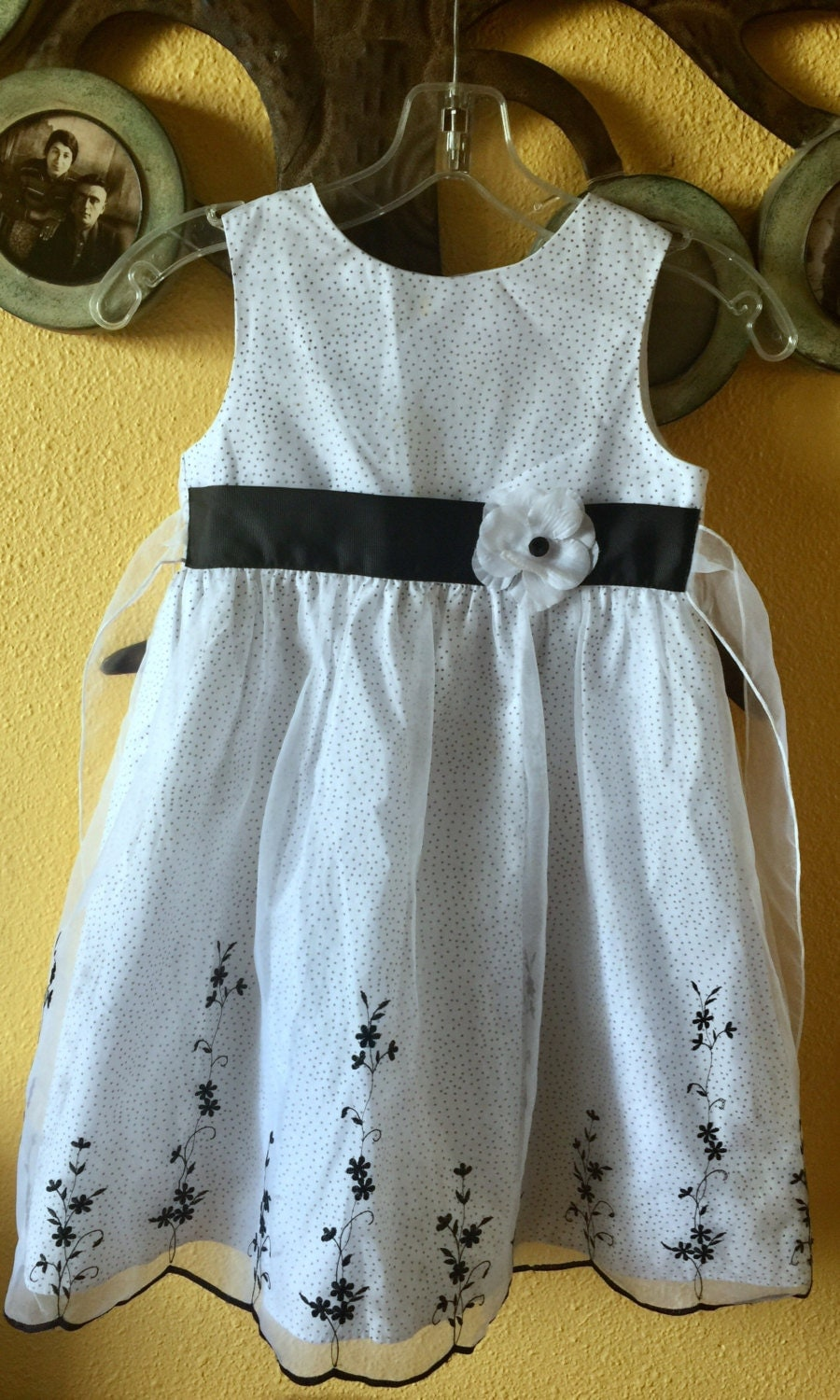 Baby Dress Toddler Black White Polka Dot Flower Girl Christening