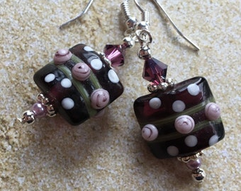 Purple Lampwork Earrings, Lampwork Earrings, Purple Earrings, Jewelry, Earrings, Gifts For Her, Womens Jewelry