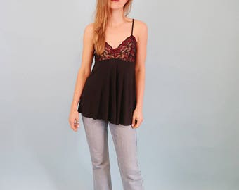 Black Camisole/Slip Dress/Teddy with Red Lace Cups