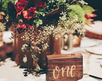 Wooden Table Number Blocks Hand Lettered in Gold// Wedding Table Number// Event Table Number