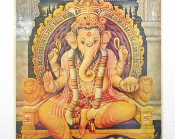 India Vintage Calendar Print Hindu God Ganesha Over 30 Years Old P17