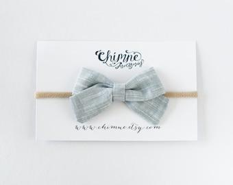 grey bow headband, baby gray headband, baby bow headband, toddler hair bow, newborn headband, christening baby headband, newborn baby bow