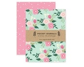 Aqua Floral - Pocket Journal Set of 2
