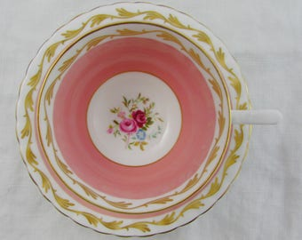 Vintage Pink Tea Cup and Saucer with Flowers by Susie Cooper, English Bone China