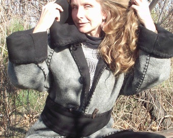 Woolen elven medieval doublelayered coat from grey and black cashmere