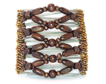 One Clip - Brown Hair Clips on 10cm Combs with Gorgeous African Beads