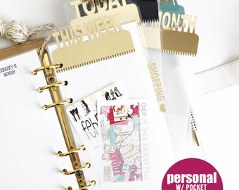 PERSONAL SIZE planner page marker with pocket : ALL colors with plain vellum bottom (today, this week, this month) / pagemarker / divider