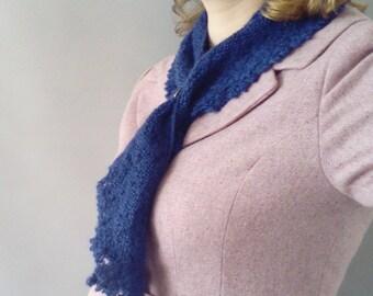 Ladies knitted scarf -vintage Shawl scarf - wool and mohair scarf - blue wool scarf - womens wool scarf
