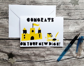 Hand Screenprinted Greetings Card - 'Congrats on your New Digs!' New Home Congractualtions Card