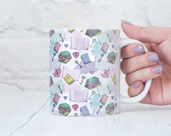 Book Gift - Book Lover Mug - Pastel Books Pattern - Gift for Book Lovers