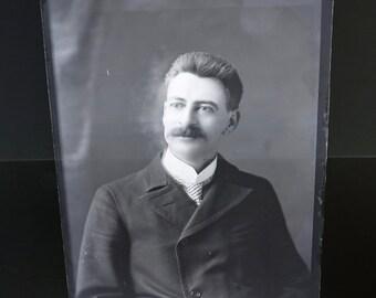 Man with Mustache Antique Photograph Glass Plate Vintage Photo Negative Instant Ancestor