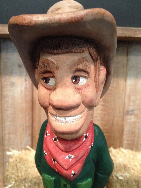 Western Caricature Cowboy Wood Carving Heirloom Gift For