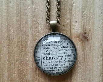Vintage 1939 Winston's Dictionary Word Necklace: charity