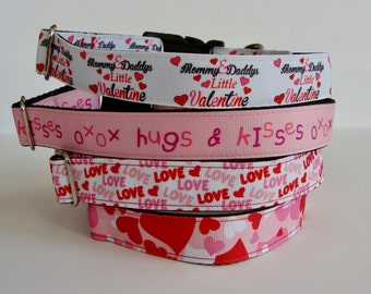 Valentine's Day Dog Collars Mommy & Daddy's Little Valentine, Hugs and Kisses xoxo, Love, Camo Hearts - READY TO SHIP!