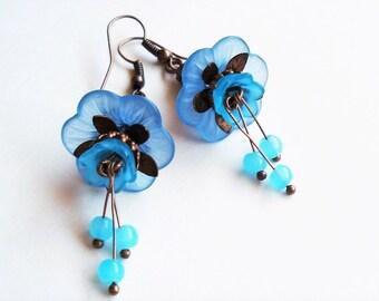 Flower Earrings Blue Jewelry Long Earrings Floral Jewelry Vintage Style Blue Earrings Bridesmaid Gift Copper Earrings Statement Jewelry Gift