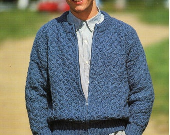 3fdb7abe5fd4df mens zipper jacket knitting pattern pdf chunky cardigan with zip bomber  jacket Vintage 36-46 inch chunky bulky 12ply Instant download