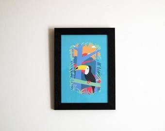 Jungle Toucan Print - A5 - Toucan Illustration - Jungle illustration - Wall art - Home decor