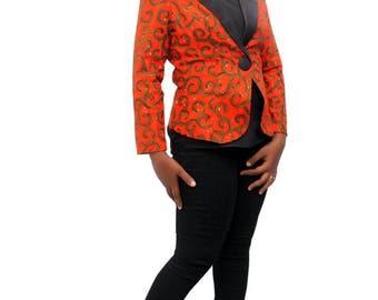 Ankara Orange Jacket- African print blazer - African wax print jacket - ankara orange top